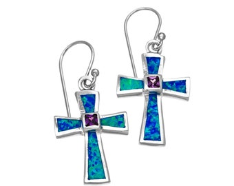 silver blue opal cross earrings with amethyst stone,cross dangle earrings,silver cross earrings,stone earrings,cross jewelry,boho chic