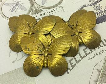 Set of 5 Large Solid Brass Butterflies