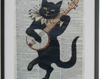 Cat Print No.188, black cat, cat poster, cat print, music cat, banjo, boyfriend gift, cat decor, wife gift, cat gift, funny cat
