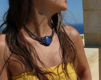 Macrame necklace Healing crystals and stones Lapis Lazuli choker Macrame jewelry September birthstone Spiritual necklace Healing jewelry