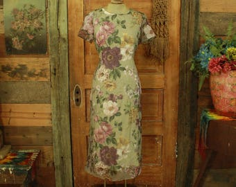 CLEARANCE vintage 1990s sage green beautiful sheer gauzy overlay floral long dress XS S 8 Petite