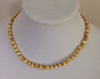 Canary yellow and gold freshwater Pearl necklace // bridal jewelry // mother of the bride // mad men // mid-century jewelry // classic