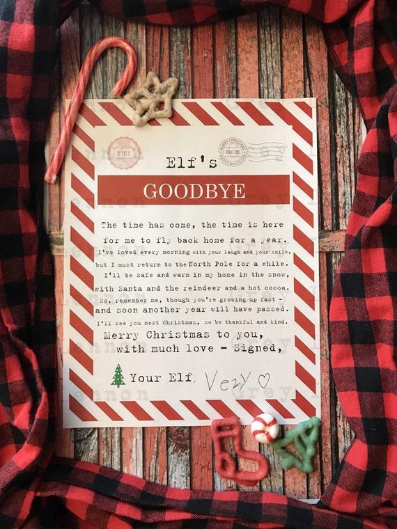 Christmas Elf Goodbye End of Stay Printable - Vintage Typewriter Style - INSTANT Downloadable Printable PDF!
