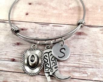 Country bracelet, Charm Bracelet, Country girl gift, cowboy Charm Bracelet, initial bracelet, adjustable bangle, stainless steel bracelet