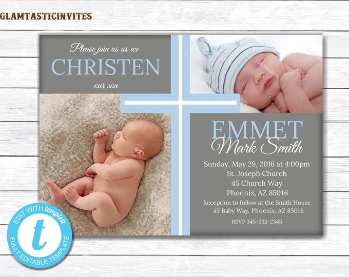Christening Invitation Boy, Christening Template, Boy Communion Invitation, Template, Baby Dedication Invite, Religious Invite, Printable