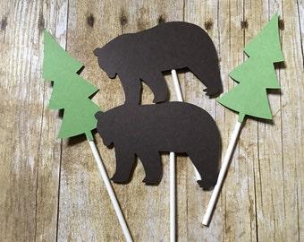 Bear & Tree Cupcake Toppers -- Lumberjack Cupcake Toppers-- Wildnerness Cupcake Toppers-- Tree cupcake toppers-- Bear cupcake toppers --