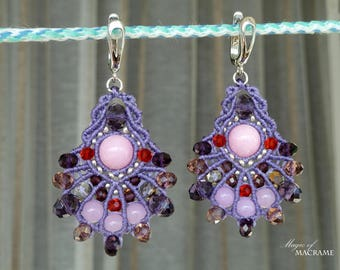 Lilac micro macrame earrings| Colorful  beaded jewelry| Original gifts for her| Dangle earrings| Silver ear wires| Spring time
