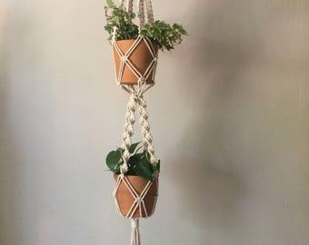 Double Macrame Plant Hanger - Small