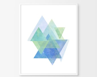 Triangles art, Abstract Watercolor, Green Blue art, Geometric watercolor, Abstract art, Abstract print, Scandinavian art, Large art print