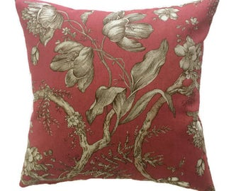 Farmhouse Pillow, French Country Throw Pillow Crimson Red Tan Cushion Cover Cottage Floral Accent Pillow, Lumbar Chair Shabby Chic Pillow