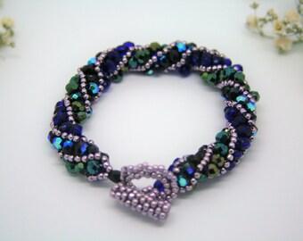 Blue bracelet, spiral bracelet, dark blue spiral bracelet, blue beaded bracelet, beaded bracelet, blue jewelry, Christmas gifts