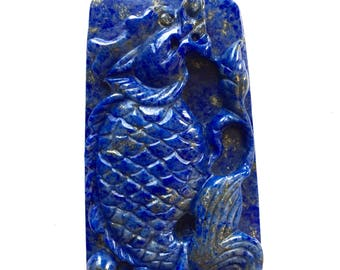Hand Carved Natural Lapis Lazuli Pendant, Lapis Focal Bead, Chinese Carvings, Carved Lapis Lazuli, Lapis Bead