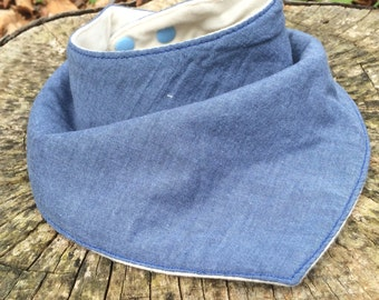 Free Shipping!! Baby Bib - Bandana Bib - Light Blue Gray