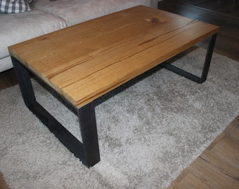 Coffee table oak solid with steel frame