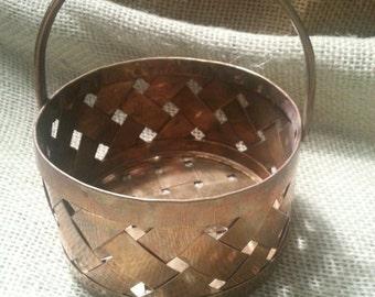 Vintage Brass Basket Bowl with Mobile Handle