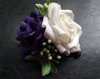 Dog Collar Attachment Flower Girl Wedding Birthday Photo Prop Purple White Rose