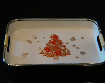 Vintage Christmas  Mini Tray/ Made in Japan/ Lacquer Tray/ Acrylic Tray
