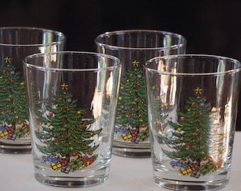 Set of 4 Spode Christmas Tree Glasses/ Cocktail Glasses