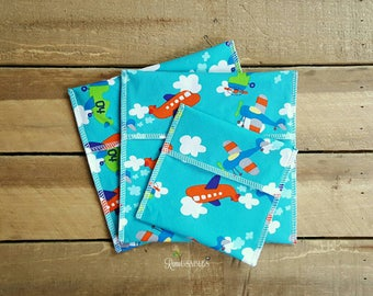 Back to school sandwich bags, reusable sandwich bags, snack bags, waterproof bag, fold over bag, lunch bag, airplanes, boy gift, aviation