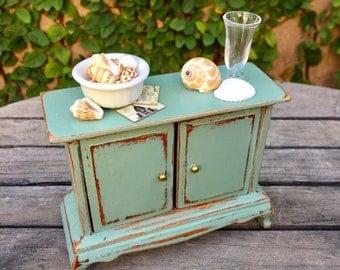 Beach side cupboard, miniature cabinet, dollhouse sideboard