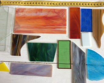 Glass Art Glass - Lot of Vintage Art Stained Glass 15 Pieces Of Various Types Colours and Sizes