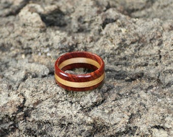 Solid Bubinga and Maple 3 layer wood ring/ 5 year anniversary gift
