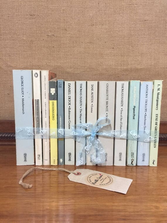GREY PASTEL Paperback Vintage Classic Book Collection - Foot Long Instant Book Stack - Interior Design Shelf Staging - Neutral Home Decor