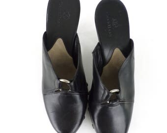 Vintage 90s Cole Haan Black Leather Mules Size 9B, Black Leather, Leather Mules, Silver Studs, Black Mules, Cole Haan, Mules, Heels