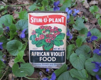 "Vintage Metal Tin Violet Flower Canister ""Stim-U-Plant"" Advertising African Violet Litho Art Mid Century Garden Shabby Chic Collectible Gift"