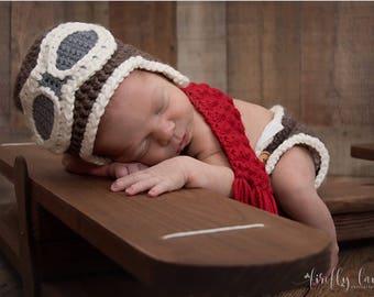 Newborn infant aviator pilot hat, baby aviator hat, infant aviator hat, baby pilot hat, newborn photo prop, aviator hat with goggles, pilot