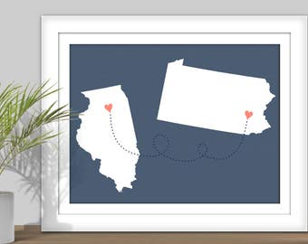 Chalkboard map etsy state to state usa map art printable custom colors digital state map gumiabroncs Gallery