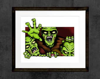Walking Dead Crawling Zombies, hand drawn and painted Zombies reaching out of frame print. INSTANT DOWNLOAD