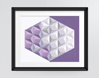 Hexagonal Shape Wall Art Print in purple and greys, Geometric Print Abstract Art, Room Decor, INSTANT DOWNLOAD