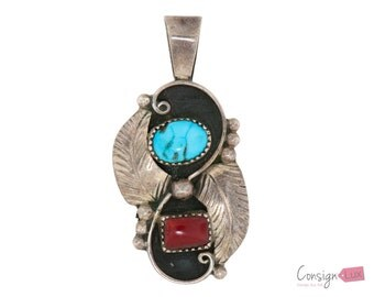 WR Sterling Silver Pendant with Turquoise and Coral