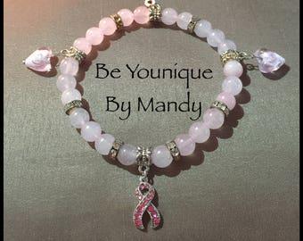 Breast cancer awareness pink beaded bracelet