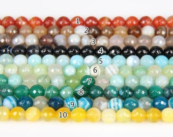 4-20mm size 10 more color choice,Natural Agate Dyed Stones Loose Beads DIY Necklace Bulk,Faceted Round Striped Agate Spacers Charm Bracelet