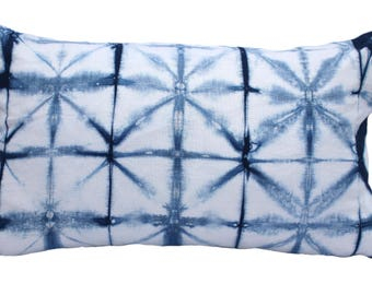 "Shibori Indigo Pillow Cover 12"" x 21"""