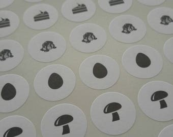 Food stickers rsvp meal dinner response place card food choice seals menu choice for response