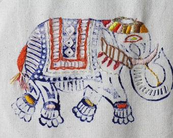 Orange elephant tote bag / canvas shopper / canvas bag / shopper bag / embroidered elephant bag / elephant gifts / tote bag / gifts for her