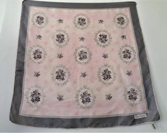 French Silk Scarf, Gray Pink Slk Scarf, Pierre Lafont Silk Scarf, Hem Rolled Silk Scarf