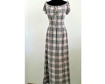 Maxi Long  Dress, Plaid Dress, Checkered Dress, Casual Checkered dress, Holiday Dress, Plaid gown, Elastic Maxi Dress, XL/XXL