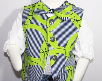 Boys vest African boys vest African clothing-Lime & Navy