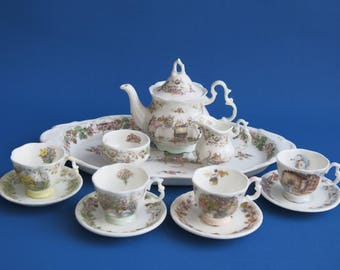Royal Doulton Brambly Hedge - 12 Piece Miniature Tea Set - All Four Seasons - First Quality - Made In England