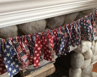 4th Of July Garland/ Memorial Day Garland/ Patriotic Garland/ Fabric Garland/ Red White and Blue/4th of July Home Decor