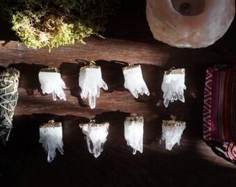 Crystal quartz cluster pendant