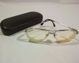 Vintage Eyeglasses Silver Glasses Full Rim Double Bridge Eye Glasses Rx Prescription Glasses Metal Eyeglasses Frames E2 MA7129