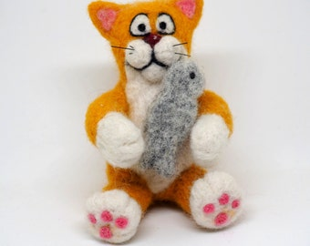 Felted wool toy cat with fish handmade