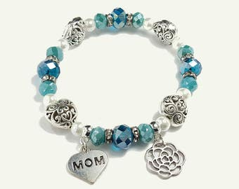 Mother's Day Mother of the bride wedding Montana blue Antique silver scroll charm stretch bracelet