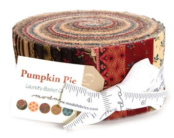 "Moda PUMPKIN PIE PRINTS Jelly Roll 42280JR 40 2.5"" Quilt Fabric Strips By Laundry Basket"