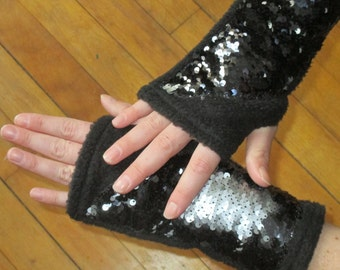 Fuzzy black fleece and Reversible mermaid sequin fabric fingerless driving gloves ~ sensory ~ stress relief